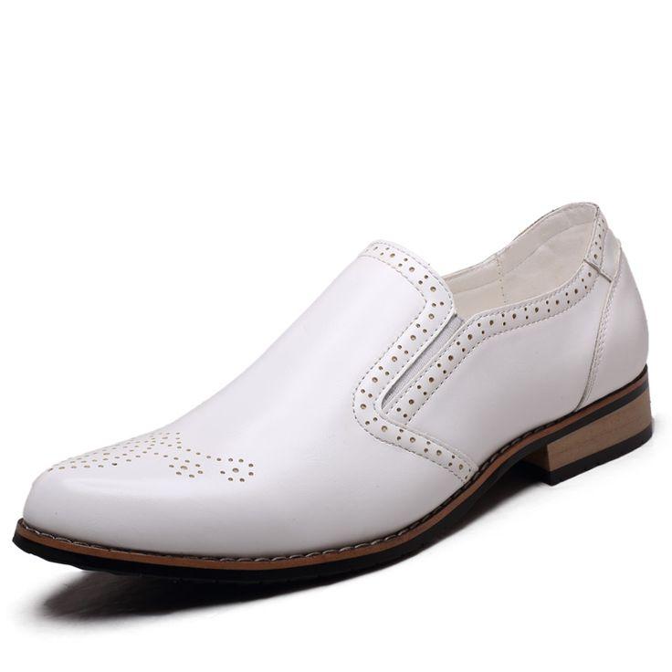 Blanco cómodo mens hechos a mano zapatos de vestir de marfil de ballet de boda del novio zapatos italianos clásicos de lujo elegante zapatos para hombre(China (Mainland))