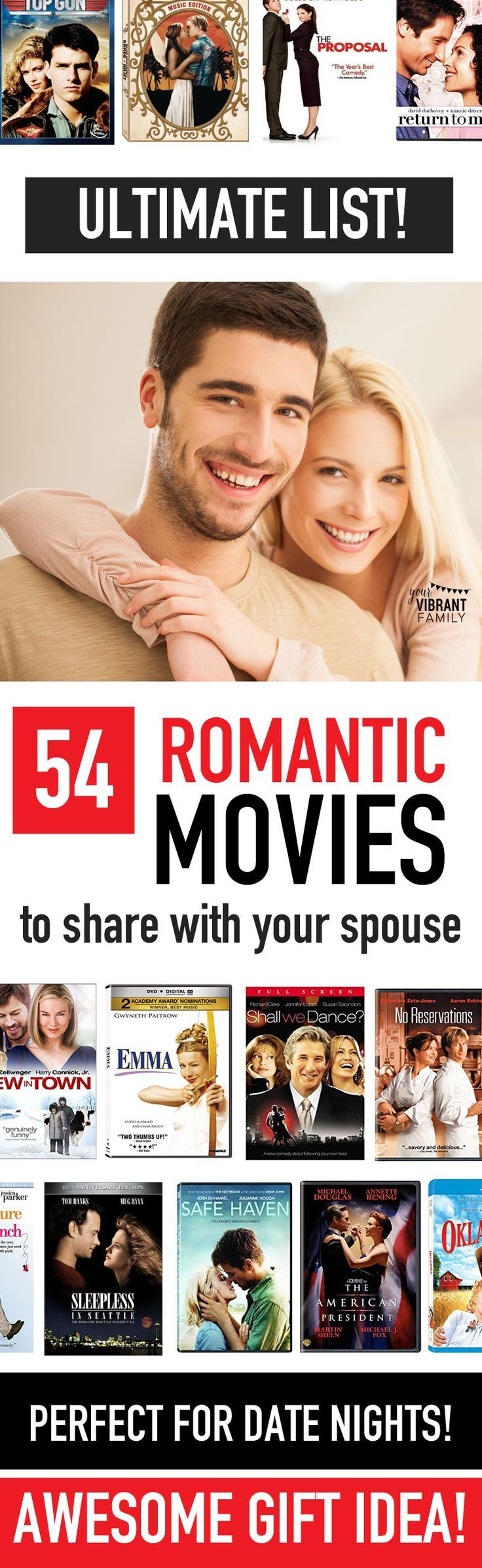 LOVE! Great list of awesome romantic movies to share with your husband or wife! Perfect for Valentine's Day, anniversaries, at home date nights or any time you want to watch a romantic movie with your spouse! Are your favorites here too?