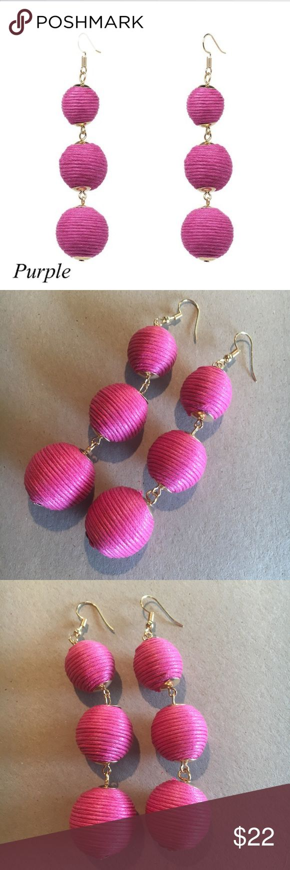 """As seen on Today w/KathiLee & Hoda PomPom earrings Fun Pom Pom thread wrapped 3 tiered ball earrings in HOT PINK.  (Photo labeled as purple but true color is hot pink). This item is a new Boutique item in original packaging but without tags.  Please review all photos and comments prior to purchasing.  Material: Gold plated alloy, Weight: 20g, Dimensions: Approx 3.75""""x.75"""".  Price is firm on Boutique items unless bundled Mimi's Boutique Jewelry Earrings"""