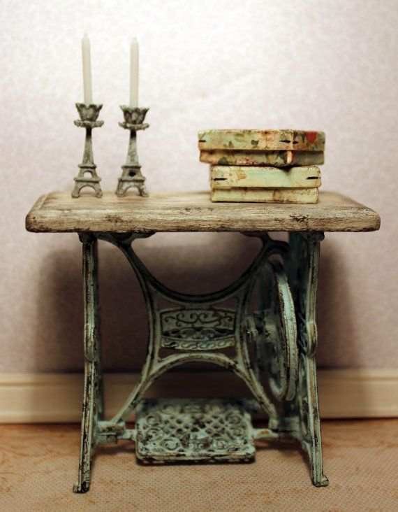 To be made on request. Sewing machine table, dollhouse miniature, scale 1:12. Petit Brocante.