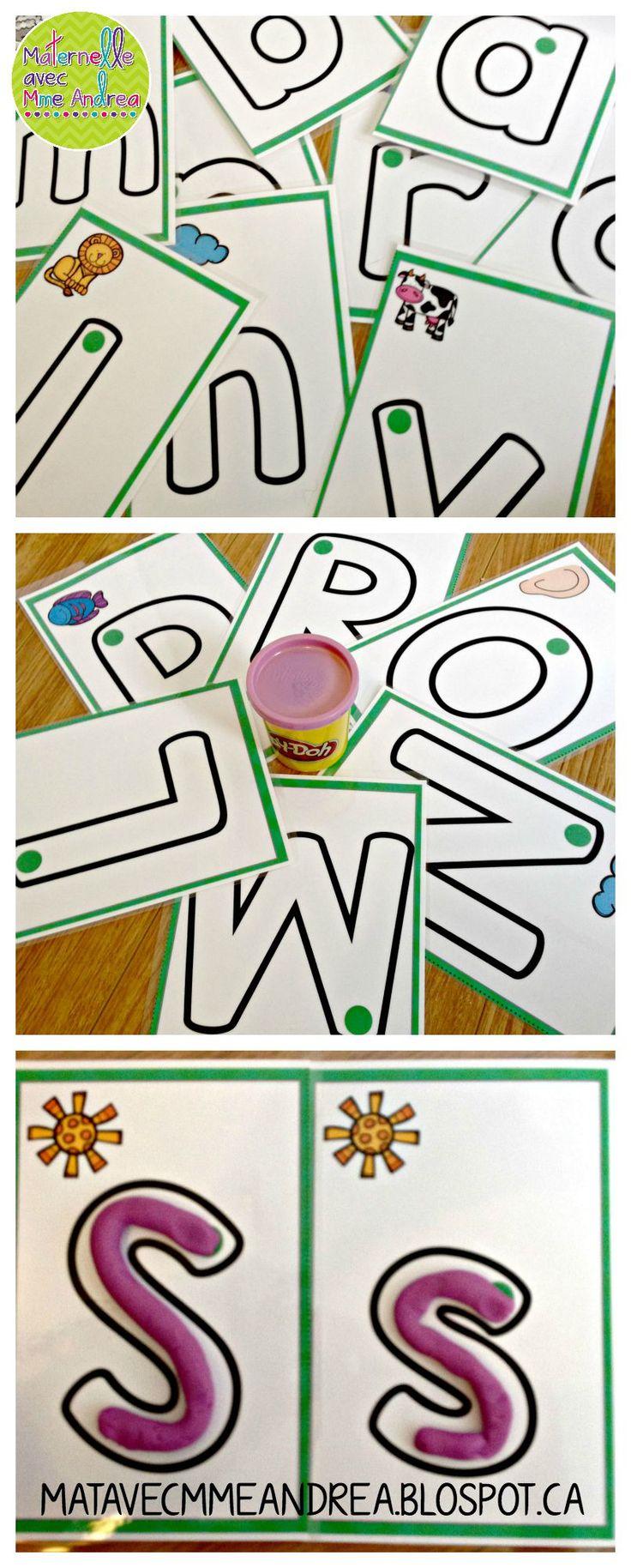 Cartes de pâte à modeler (les lettres de l'alphabet) - faire vos élèves travailler la motricité fine en apprenant la forme des lettres de l'alphabet! En couleur et noir & blanc. $