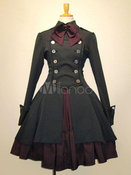 Gothic Lolita Kleid OP schwarz Baumwolle Double Breasted Knopf lange Ärmel Bow Rüschen Lolita einteiliges Kleid - Milanoo.com