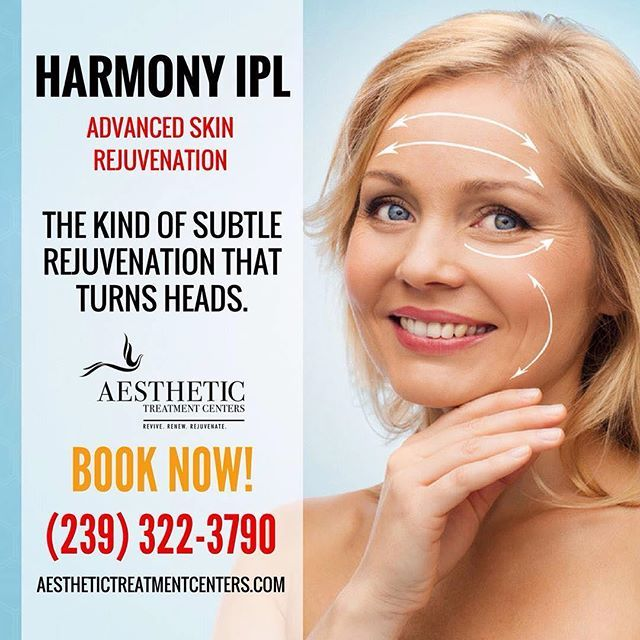 Intense Pulse-Light facial is the cutting edge treatment in anti-aging technology.  This latest technique will help you to improve signs of aging including fine lines and wrinkles brown spots generalized redness and capillaries.  #AestheticTreatmentCenters #NaplesFL #MedSpa #NonInvasive #SkinRejuvenation #AntiAging #SunDamage #FineLines #Wrinkles #AcneScars #UnevenTexture #EnlargedPores #PRP #SkinRegeneration #HarmonyIPL #LightFacial