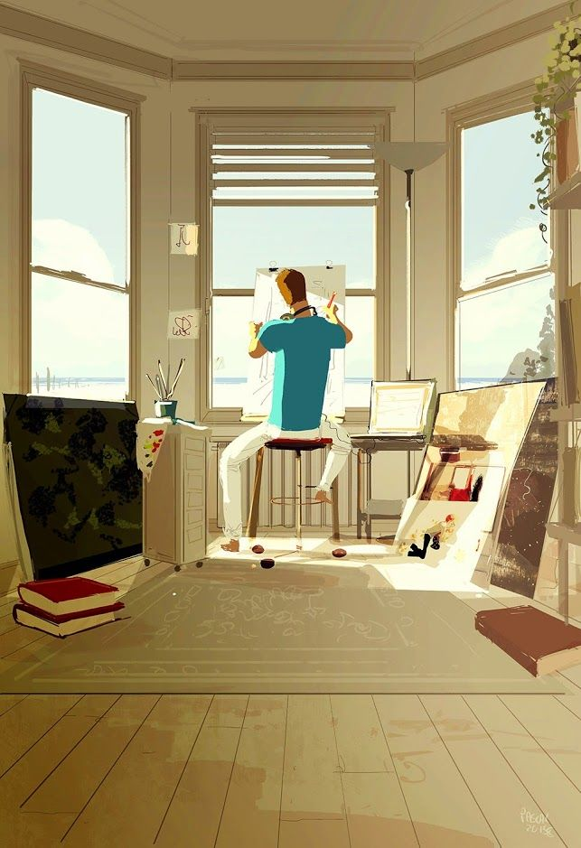 Do not disturb, Artist at work. #pascalcampion #studioonthebeach #daydreaming