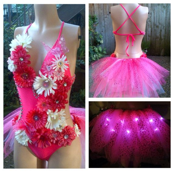 Electric Daisy LED Butterfly Rhinestone Pink Fairy Monokini Rave Bra , EDC Outfit