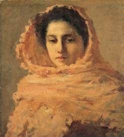 """Silvestro Lega """"Donna con scialle in testa"""""""