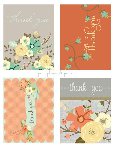 New FREE printable thank you cards on Pumpkins and Posies blog!! #vintageflorals