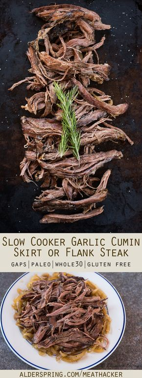 This unique skirt or flank steak recipe is made in the slow cooker with delicious seasonings of garlic and cumin. Set it and forget it like it's a mini roast!