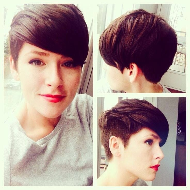 Chic Shaved pixie hairstyles: Short Haircuts side and Back View The back of the pixie hairstyle is tapered into the neck with uniform layers cut up to the top and front that blends in charmingly with the bangs wispy cut to contour the top of the face for a cool finish.The short hairstyle create an edgy look and can flatter many face shapes. - See more at: http://pophaircuts.com/chic-pixie-haircuts-ideas#sthash.YeYZJozB.dpuf