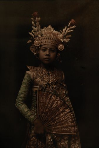 The First Color Photos of Bali, Indonesia in 1920s, A nine-year old dancer in her gilded crown and costume --- Image by Franklin Price Knott
