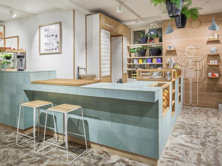 Interior design by Bond for Finnish health store PÜR | #interior #pastel #wood #branding #cicd