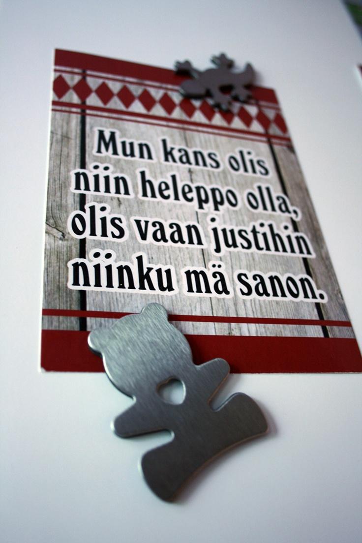 Fridge magnet and funny postcard from Southern Ostrobothnia. Image: Päivi Kantonen