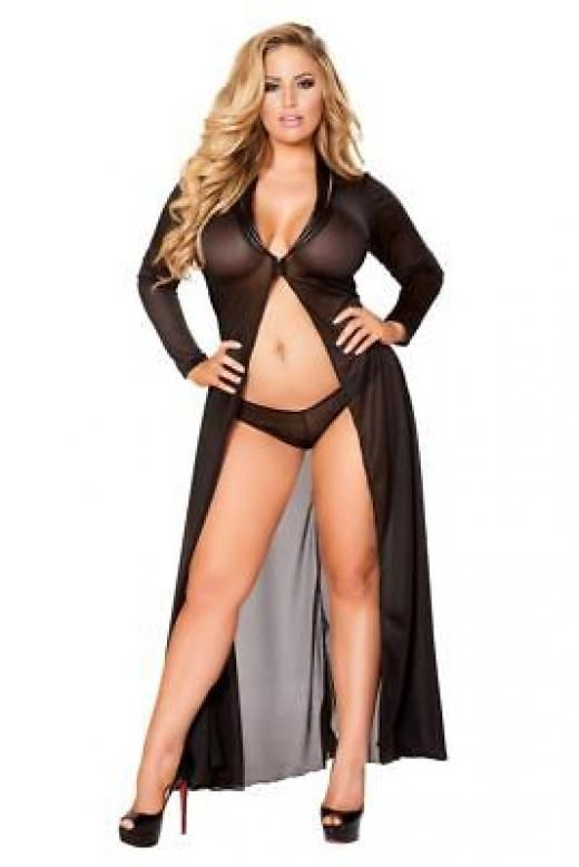 746ef15ea01 Roma Sexy Plus Size Curvy Long Mesh Robe And Short Lingerie Set Robes Black