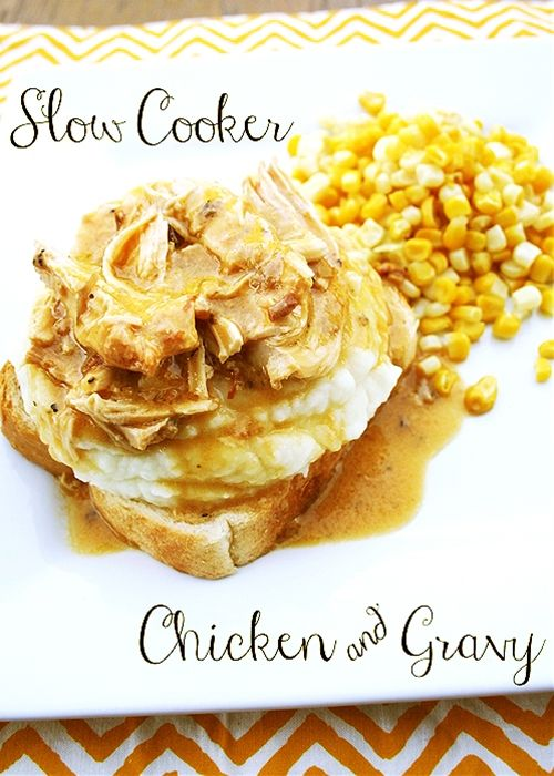 Slow Cooker Chicken and Gravy.  1 pound boneless skinless chicken breasts 2 packets dry chicken gravy mix (0.87 ounce packets) 1 10 3/4 ounce can cream of chicken soup 2 cups of water 1/8 teaspoon black pepper  Mix water, soup, gravy packets  pepper together in bottom of crock pot.  Throw chicken in.  Low 6-8 hours.