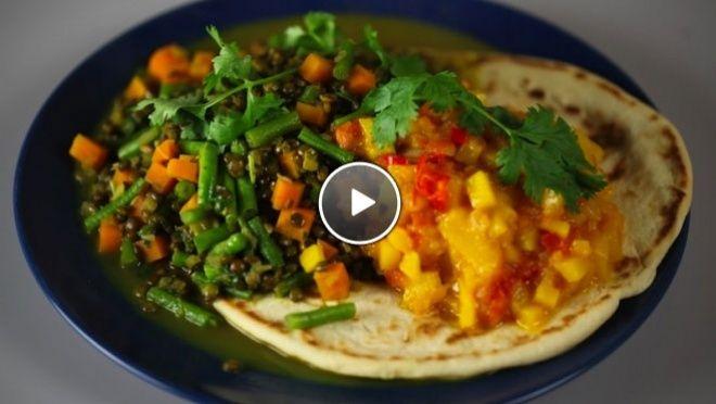 Gekruide linzen met tomaten-mango chutney - recept | 24Kitchen