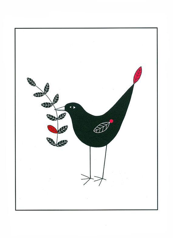 Illustrazione uccello nero art arte natura uccelli di caitlihne