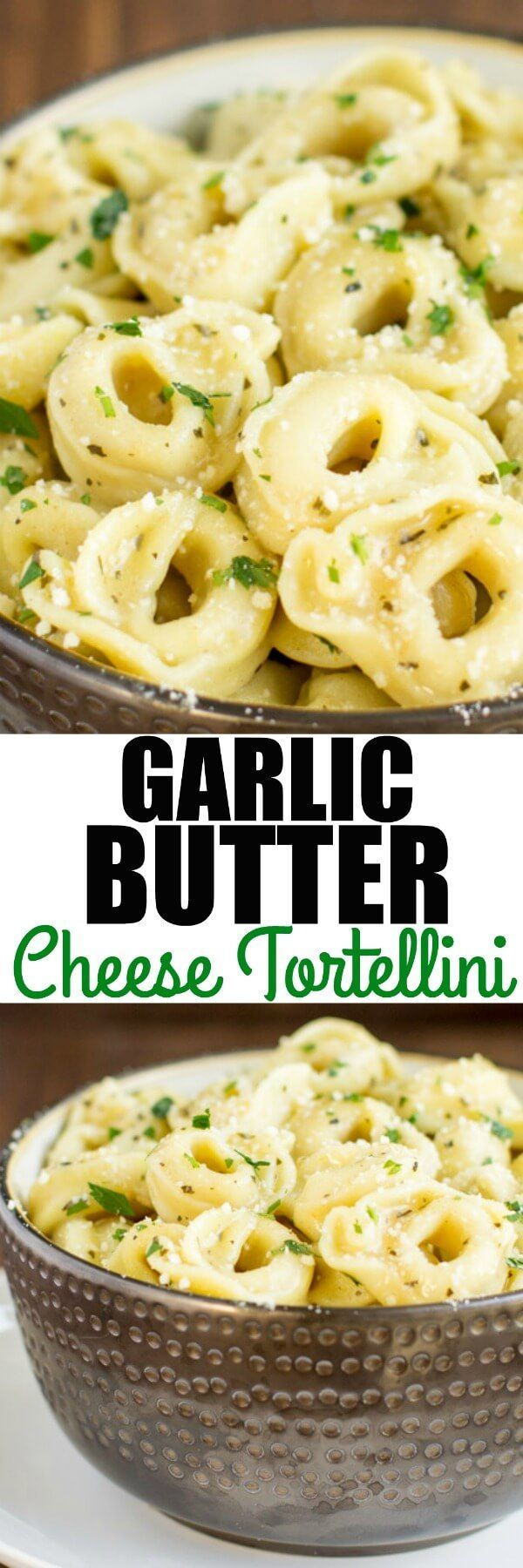 Piping hot Cheese Tortellini served in a simple, delicious garlic butter sauce. Double the batch because everyone is going to love it! via @culinaryhill (Bake Dinner Butter)