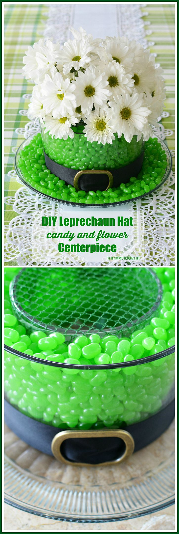 Edible and Blooming Leprechaun Hat Centerpiece DIY for St. Patrick's Day using candy and flowers | ©homeiswheretheboatis.net #StPatricksDay #centerpiece #DIY #leprechaunhat