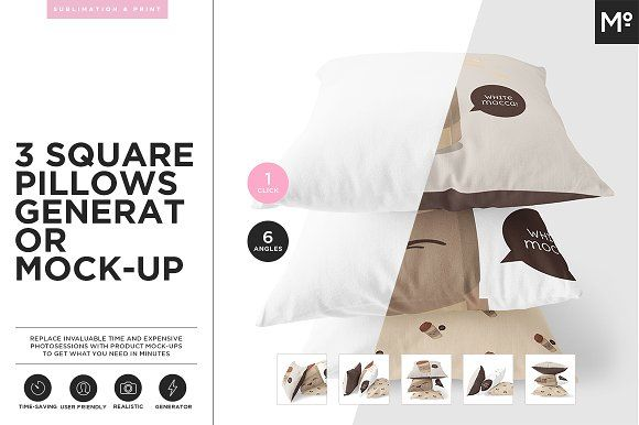 3 Square Pillows Generator Mock-up by Mocca2Go/mesmeriseme on @creativemarket