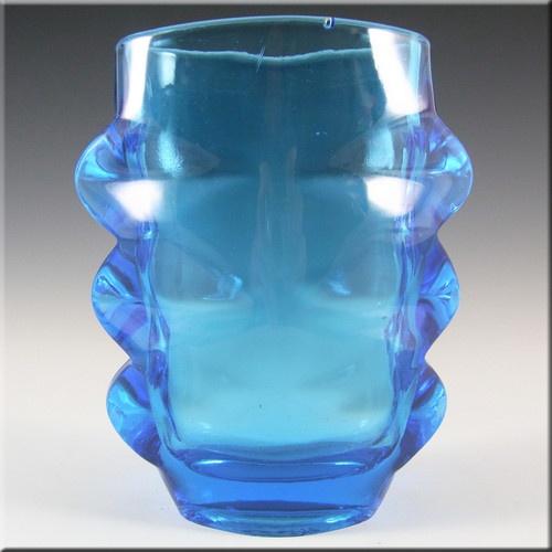 Sklo Union 1970s Rosice Blue Glass Vase - Pattern 1272 £34.99
