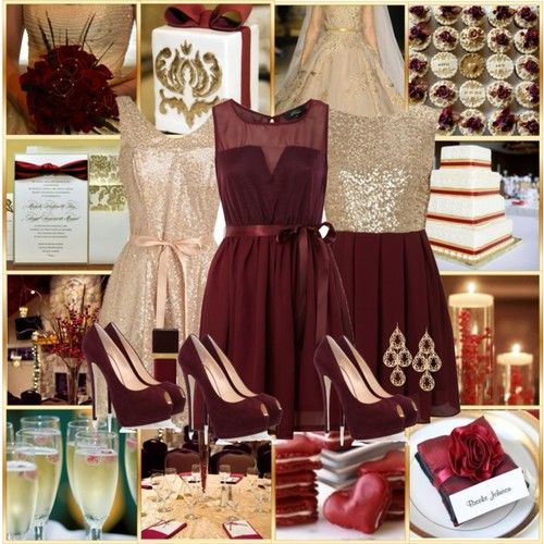 Wine red, gold, and champagne colors for a wedding are super classy :) Throw some black in there and I am in love!!!! @Amber Thomson
