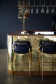 Luxury bar chairs in blue and brass | www.bocadolobo.com/ #luxuryfurniture #designfurniture
