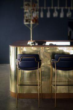 Luxury bar chairs in blue and brass | www.bocadolobo.com/ #luxuryfurniture #designfurniture