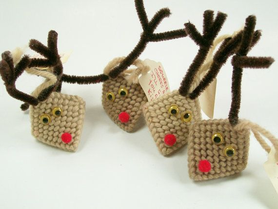 Vintage Reindeer Kiss Holders Handmade Christmas by dalesdreamsII