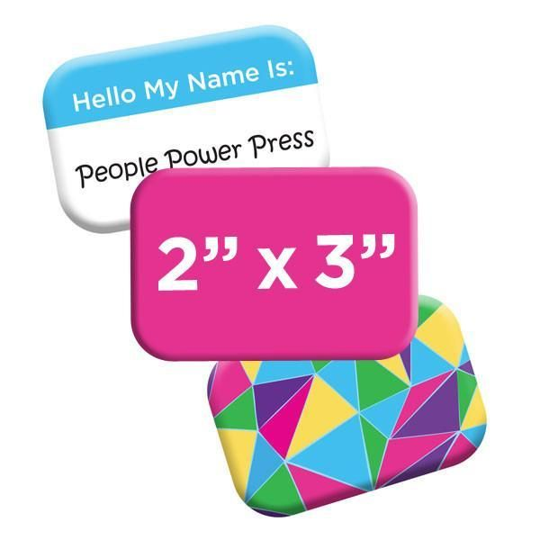 New custom button shape! The rounded rectangle is a smooth and sleek alternative for name tags, poster art and fridge magnets. https://peoplepowerpress.org/blogs/news/new-pin-shape-rounded-rectangle-buttons-are-here