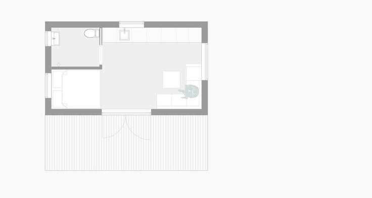 Plan för c/o 25 som komplett hem med rymligt kök, badrum, sovhytt och möjlighet till sovloft.