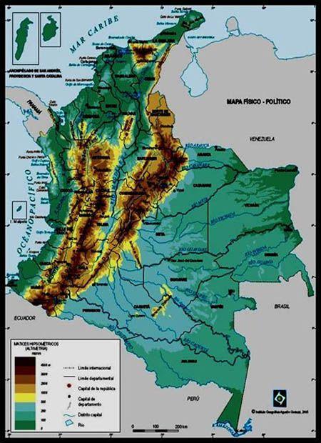 Resultado de imagen para mapa relieve colombiano para niños