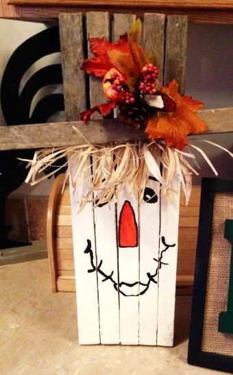 Thanksgiving Handmade Tobacco Stick Scarecrow Crafts - 2015 Yard Decor , Wood, Leaves - LoveItSoMuch.com