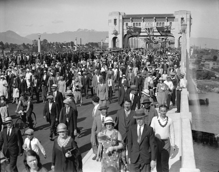 """""""A Symphony of Steel and Concrete"""" ran one headline when the Burrard Bridge was opened by mayor L.D. Taylor in 1932. The bridge is a beautiful example of art deco architecture. (Photo: Bridge Opening, July 1, 1939, via Vancouver Archives)"""