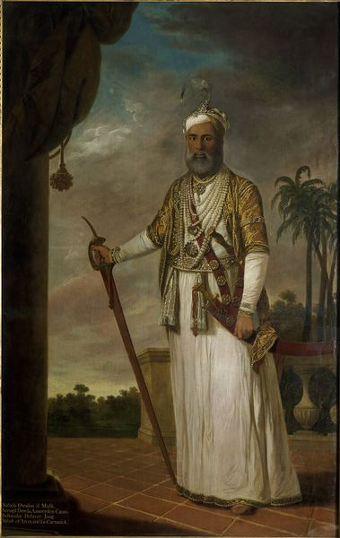 India (made) Date: 1772-1776 (made) Artist/Maker: Kettle, Tilly, born 1734 - died 1786. This portrait is an example of the early introduction of western painting to Indian courts. It depicts Muhammad Ali Wallajah (r.1749-1795) who was installed as the Nawab of Arcot and the Carnatic by the British after he committed support for their campaigns in the Deccan.