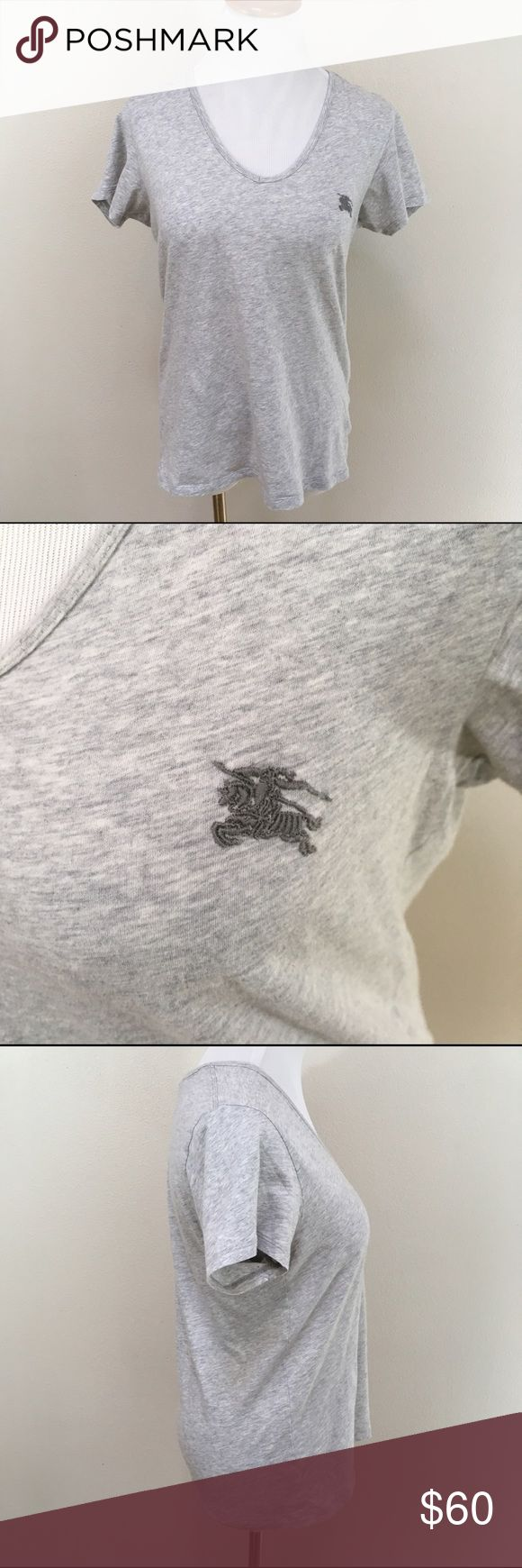 Burberry Brit Short Sleeve V-neck TShirt Small Burberry Brit Light Gray Short Sleeve V-Neck Tee Shirt Top Women's Small. Burberry Tops Tees - Short Sleeve