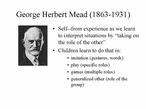george herbert mead the self Biography george herbert mead (1863–1931) was born in south hadley,  massachusetts to a successfully middle-class and intellectual family his father,  hiram.