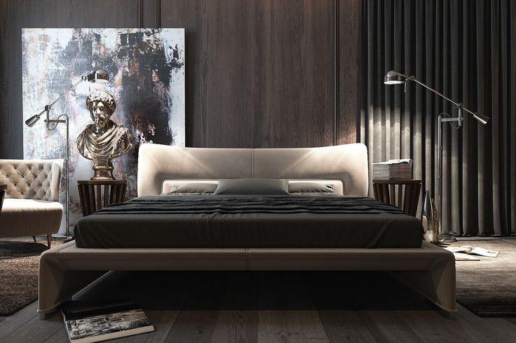 Dark bedroom interiors