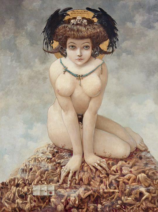 Gustav Adolf Mossa, Sie, 1905, Öl und Vergoldung auf Leinwand, 80 x 63 cm, Musée des Beaux-Arts, Nizza