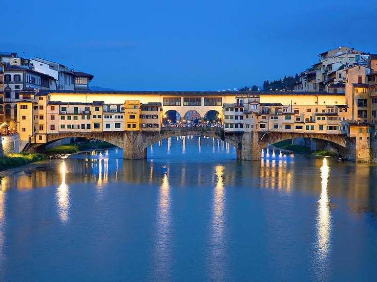 Florence, Italy: Ponte Vecchio, famous for gold jewelry. Crossed this often, on my way to a friend's house who lived alone in 16th servants quarters, in an old villa. We picked olives together once. Lived there for a year, learned Italian