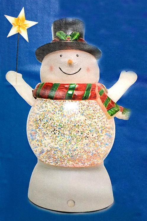 "7"""" Battery Operated LED Lighted Color-Changing Snowman Christmas Glitterdome"