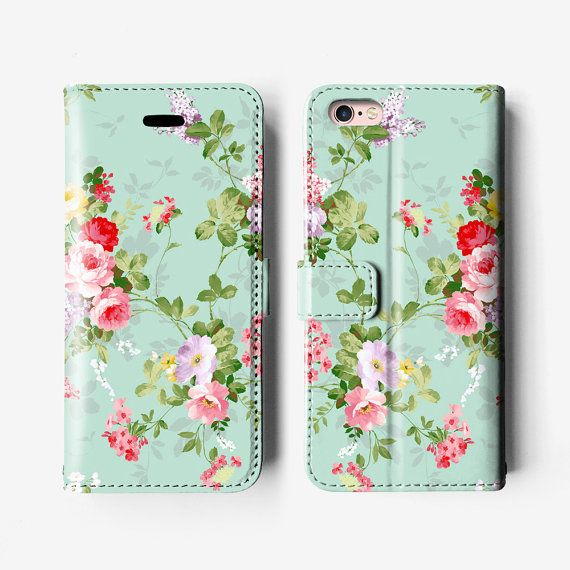 Etui portefeuille de floral iPhone 7, iPhone 6 folio case, iPhone 6 plus cas, iPhone 6 s Plus B027B rouge vert menthe, étui en cuir