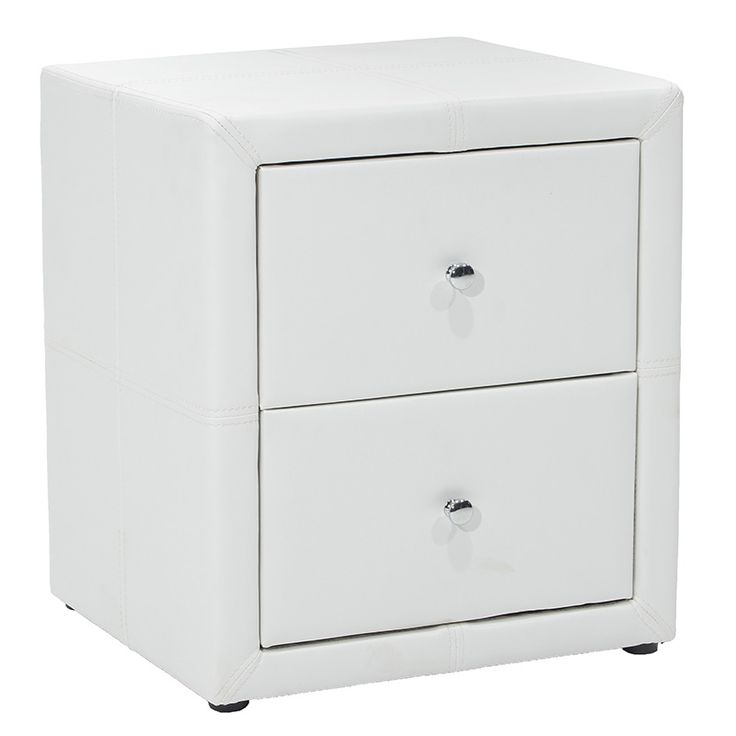 2 Drawer bedside table with PU white matte
