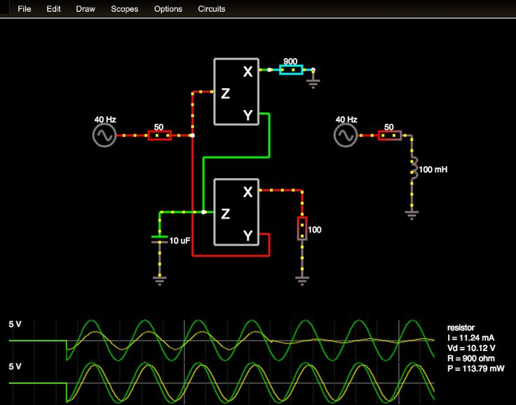 Lovely JavaScript circuit simulator from http://lushprojects.com/circuitjs/