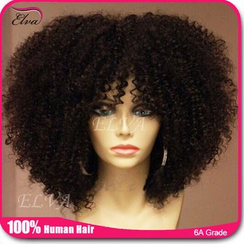 7A Cheap Kinky Curly Full Lace Wig Brazilian Glueless Full Lace Human Hair Wigs Afro Curly Lace Front Wig For Black Women Stock