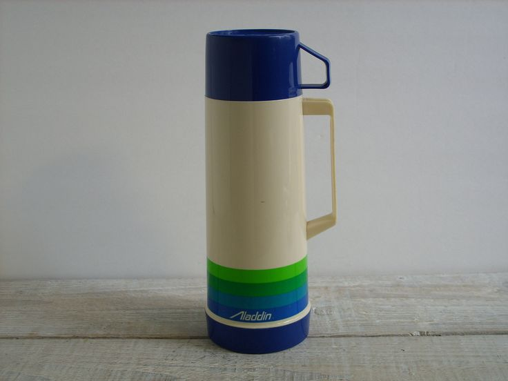 Vintage 80's Aladdin Thermos ~ Pint Size Coffee Tea Travel Mug ~ Camping Gear Picnic Lunch Beverage Container by RetrOAmyO on Etsy