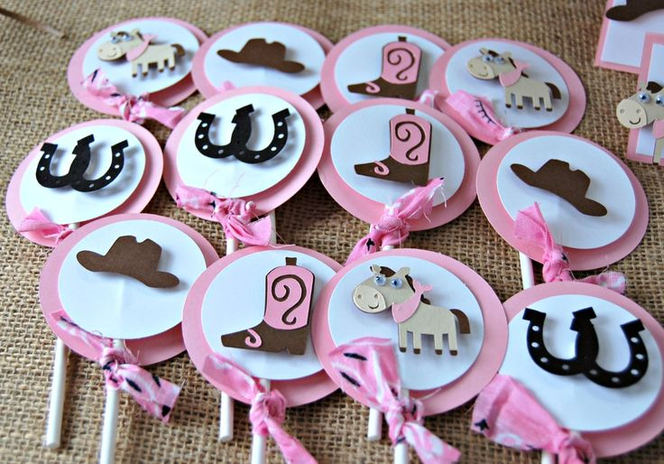 Cowgirl Themed Birthday Party Cupcake Toppers (set of 12)