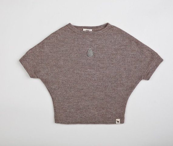 Rain drop sweater 2-5 years / Baby alpaca wool top for girls / decorated with embellished rain drop
