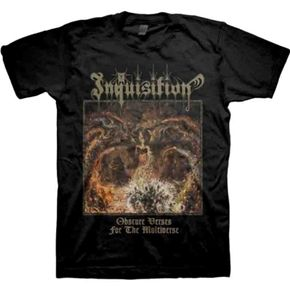 Official shirt from Colombian / US thrash black metal manics Inquisition featuring art design from their 6th album Obscure Verses For The Multiverse.