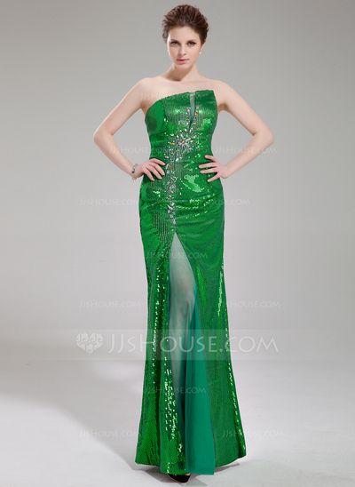 Prom Dresses - $176.99 - Sheath/Column Scalloped Neck Floor-Length Tulle Sequined Prom Dress With Beading Split Front (018019687) http://jjshouse.com/Sheath-Column-Scalloped-Neck-Floor-Length-Tulle-Sequined-Prom-Dress-With-Beading-Split-Front-018019687-g19687