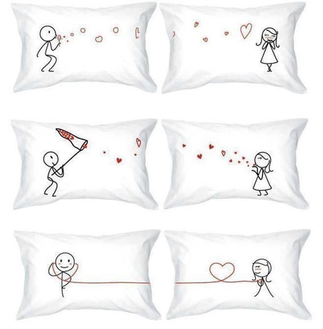 Simple and so cute... Pillow cases for white linen duvet set